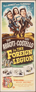 """Movie Posters:Comedy, Abbott and Costello in the Foreign Legion (Universal International, 1950). Folded, Fine/Very Fine. Insert (14"""" X 36""""). Comed..."""