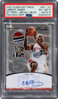 Basketball Cards:Singles (1980-Now), 2007 Fleer Hot Prospects Stat Tracker LeBron James Jersey Autograph (Blue) #ST-23 PSA EX-MT 6, Auto 9 - Hand Numbered 2/5....