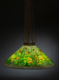 Glass, Tiffany Studios Leaded Glass and Patinated Bronze Black Eyed Susan Ceiling Lamp, circa 1910. Marks to shade: T...
