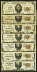 Fr. 1870-B; D; G; I; J; L (2) $20 1929 Federal Reserve Bank Notes. Very Good or Better. ... (Total: 7)