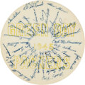 Football Collectibles:Others, 1945 Green Bay Packers & Detroit Lions Signed Promo Disc by J.D. McCarthy....