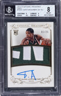Basketball Cards:Singles (1980-Now), 2013-14 Panini National Treasures Gold Giannis Antetokounmpo #130 Rookie Patch Auto (1/25) BGS NM-MT 8 Auto 10....