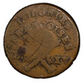 1767-A Sou French Colonies Copper, 1793 RF Countermark, -- Graffiti -- PCGS Genuine. Fine Details. Countermark - VF Deta...