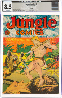 Jungle Comics #8 Larson Pedigree (Fiction House, 1940) CGC VF+ 8.5 White pages