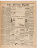 """Miscellaneous:Ephemera, William Bonney: Reno Evening Gazette First Report of the Death of """"Billy the Kid""""...."""