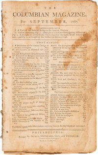 September 1787 Columbian Magazine: First Magazine Printing of the U. S. Constitution