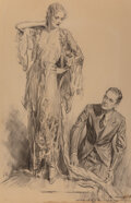 Works on Paper, Charles Davis Mitchell (American, 1887-1940). The Dress. Charcoal on board. 18 x 13 inches (45.7 x 33.0 cm). Signed and ...