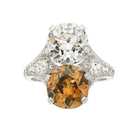 Art Deco Diamond, Fancy Dark Orangy Brown Diamond, Platinum Ring
