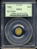 California Fractional Gold: , 1881 50C Indian Round 50 Cents, BG-1069, High R.4, MS63 ...