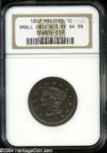 Proof Large Cents: , 1857Small Date-Braided-PR 64 Brown NGC. N-...