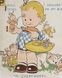 Mabel Lucie Attwell (British, 1879-1964) Pixies, Pixies, I Declare! On My Bibs and Everywhere. Screenprint on cloth 8