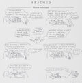 """Works on Paper, R. O. Blechman (American, b. 1930). """"Beached or Melville the Scrivener"""" Original Art Comic Strip. Ink, pencil, and colla..."""
