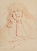 Works on Paper, Thomas Rowlandson (British, 1756-1827). Study of a Frightened Woman (Melancholy Madness). Watercolor on paper laid on pa...