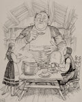 Pulp, Pulp-like, Digests and Paperback Art, Ernest Howard Shepard (British, 1879-1976). The Stew Was Perfect and There was Plenty of it, The Ogre Counting, 1995. ...
