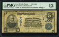 National Bank Notes:Texas, Fort Worth, TX - $5 1902 Plain Back Fr. 600 The Farmers & Mechanics National Bank Ch. # (S)4004 PMG Fine 12.. ...