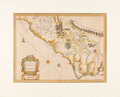 Miscellaneous:Maps, 1676 Map of the Carolinas by Cartographer Francis Lamb....