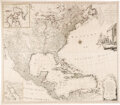 Miscellaneous:Maps, Large Four-Sheet Engraved Map of North America Published in 1784....