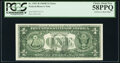 Full Face to Back Offset Error Fr. 1907-H $1 1969D Federal Reserve Note. PCGS Choice About New 58PPQ