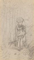 Works on Paper, Ernest Howard Shepard (British, 1879-1976). Christopher Robin with Railings study. Pencil on paper. 6-3/4 x 4-1/8 inches...