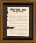 Military & Patriotic:Civil War, Broadside Printing of George Armstrong Custer's Announcement of the Surrender of General Lee at Appomattox and Farewell to His...