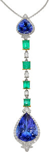 Estate Jewelry:Necklaces, Tanzanite, Emerald, Diamond, White Gold Pendant-Necklace, ...