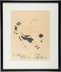 """Football Collectibles:Others, 1968 """"B. Hull, Montreal Jan. 20, '68"""" Original Artwork by LeRoy Neiman...."""