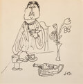 Works on Paper, Ludwig Bemelmans (American, 1898-1962). The Meal. Ink on paper. 8-1/2 x 8-3/4 inches (21.6 x 22.2 cm). Initialed lower r...