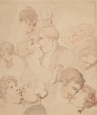 Thomas Rowlandson (British, 1756-1827) The Art of Kissing Watercolor and pencil on paper 10-1/2 x 8-1/2 inches (26.7