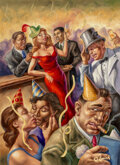 Paintings, Owen Smith (American, b. 1964). To a New Beginning, The New Yorker cover, December 2006. Oil on panel. 30-1/2 x 22-1/2 i...