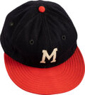 Baseball Collectibles:Uniforms, 1954 Hank Aaron Game Worn Milwaukee Braves Rookie Cap, MEARS Authentic....