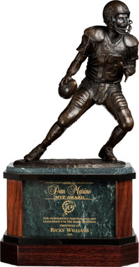 2002 Dan Marino Most Valuable Player Award Presented to & Signed by Ricky Williams