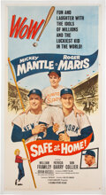 """Baseball Collectibles:Others, 1962 """"Safe At Home"""" Three-Sheet Movie Poster Featuring Mickey Mantle & Roger Maris...."""