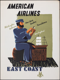 """American Airlines: East Coast (American Airlines, 1948). Rolled, Very Fine. Travel Poster (30"""" X 40"""") Edward M..."""