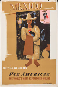 """Mexico (Pan American Airways, 1950s). Rolled, Fine/Very Fine. Poster (28"""" X 42"""") Edward McKnight Kauffer Artwo..."""