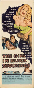 """Movie Posters:Crime, The Girl in Black Stockings (United Artists, 1957). Rolled, Very Fine-. Insert (14"""" X 36""""). Crime.. ..."""