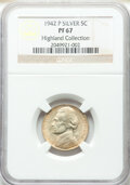Proof Jefferson Nickels, 1942-P 5C Type Two PR67 NGC. EX: Highland Collection. NGC Census: (446/25). PCGS Population: (447/21). CDN: $175 Whsle. Bid...
