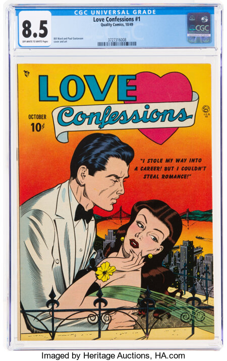 Love Confessions #1 (Quality, 1949) CGC VF+ 8.5 Off-white to white pages....