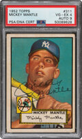 Baseball Cards:Singles (1950-1959), 1952 Topps Mickey Mantle Signed #311 PSA VG-EX 4, Auto 9....