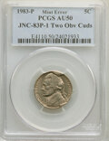 Errors, 1983-P 5C Jefferson Nickel -- Two Obverse Cuds -- AU50 PCGS. JNC-83P-1.. From The Don Bonser Error Coin Colle...