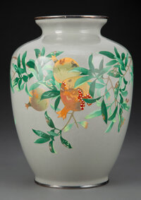 A Japanese Cloisonné Vase, Attributed to Ando Jubei Workshop, Meiji Period 9 x 6 inches (22.9 x 15.2 cm)