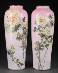 A Pair of Tall Cloisonné Vases, Attributed to Hattori Tadasaburo (1868-1912), circa 1910 Marks: Three-character H...