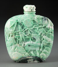 A Large Chinese Carved Jadeite Snuff Bottle 5-1/8 x 4-3/4 x 1-5/8 inches (13.0 x 12.1 x 4.1 cm)