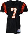Football Collectibles:Uniforms, 1985-87 Boomer Esiason Game Worn Cincinnati Bengals Jersey with Team Repair....