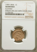 (1859-64) 1C Indian Cent -- Struck 25% Off Center with Chain Edge, Cleaned -- NGC Details. AU. From The Do