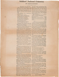 Soldiers' National Cemetery at Gettysburg: 1863 Broadside Signed in Type by David Wills