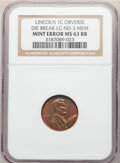 Errors, No Date 1C Memorial Reverse Lincoln Cent -- Obverse Die Break -- MS63 Red and Brown NGC. LC-ND-3 MEM.. From ...
