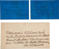 """Miscellaneous:Ephemera, Exceptionally Rare Passes to the """"Grand Review of the Army""""...."""
