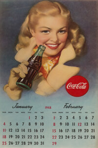 American Artist (20th Century) Coca Cola, calendar advertisement, 1948 Offset lithograph in colors on paper, each 21-...