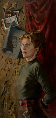 Stanley Meltzoff (American, 1917-2006) Ruth Olsen, The Docent at the MOMA, circa 1946 Oil on panel 41-1/2 x 19-7/