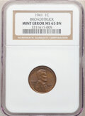 Errors, 1941 1C Lincoln Cent --- Broadstruck -- MS65 Brown NGC.. From The Don Bonser Error Coin Collection Part II....